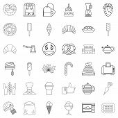 Flour Confectionery Icons Set. Outline Set Of 36 Flour Confectionery Icons For Web Isolated On White poster