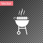 White Barbecue Grilled Shish Kebab On Skewer Stick Icon Isolated On Transparent Background. Bbq Meat poster
