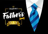 Happy Father`s Day Calligraphy Greeting Card. Happy Fathers Day Vector Lettering Background With Blu poster