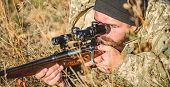 Man Hunter With Rifle Gun. Boot Camp. Hunting Skills And Weapon Equipment. How Turn Hunting Into Hob poster