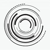 Vector Abstract Radial Background Of Concentric Ripple Circles. Circular Lines Graphic Pattern. Line poster