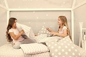Best Girls Sleepover Party Ideas. Girls Happy Best Friends In Pajamas With Pillows Sleepover Party.  poster