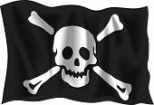 picture of pirate flag  - Waving Pirate flag isolated on white background - JPG