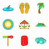 Recreational Activity Icons Set. Cartoon Set Of 9 Recreational Activity Icons For Web Isolated On Wh poster