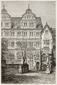 Heidelberg castle: Fredrick IV palace. Created by Stroobant, published on Le Tour Du Monde, Paris, 1