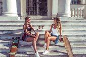 Two Girls Friends Girlfriends, Sitting On Steps Institute And College, Talking Talk, Skate, Longboar poster