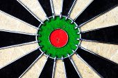 stock photo of fletching  - The center area of a dart board - JPG
