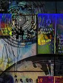 Abstract composition. Time vortex and ancient scripts. 3D rendering poster