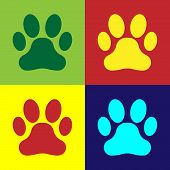 Color Paw Print Icon Isolated On Color Backgrounds. Dog Or Cat Paw Print. Animal Track. Vector Illus poster