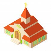 Tall Church Icon. Isometric Illustration Of Tall Church Icon For Web poster