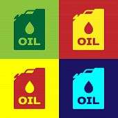 Color Plastic Canister For Motor Machine Oil Icon Isolated On Color Backgrounds. Oil Gallon. Oil Cha poster