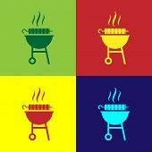 Color Barbecue Grilled Shish Kebab On Skewer Stick Icon Isolated On Color Backgrounds. Bbq Meat Keba poster
