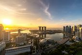 Aerial View Of Singapore Business District And City During Sunrise In Singapore, Asia. poster