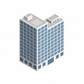 Vector Isometric City Building. Vector Isometric City Building Icon Isolated On White Background. Pr poster