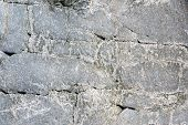 Close-up Macro View Of Rough Stone Surface Grey Color. Detailed Nature Background Or Pattern Texture poster