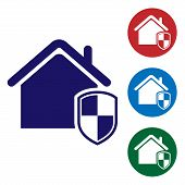 Blue House Under Protection Icon Isolated On White Background. Home And Shield. Protection, Safety,  poster