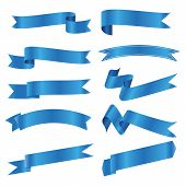 Set Of Blue Ribbon Banner Icon,blue Web Ribbons Set With Gradient Mesh On White Background,vector Il poster