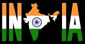 picture of indian flag  - India text with map on Indian flag illustration - JPG