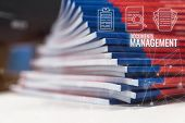 Stack Of Paperwork Files Document Management Concept: Pile Documents Reports Papers Company Document poster