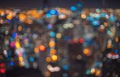 Blurred Bokeh Chicago Abstract Cityscape Skyline At Night poster