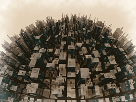 stock photo of overpopulation  - 3d render concept of overpopulation and environmental pollution - JPG