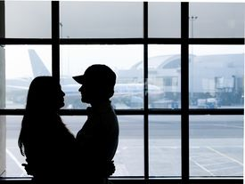 pic of say goodbye  - couple saying goodbye before departure from lax - JPG