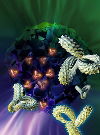 foto of monoclonal  - Computer artwork of antibodies  - JPG