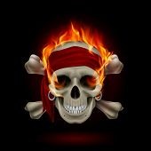 stock photo of cranium  - Pirate Skull in Flames - JPG