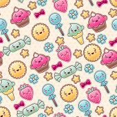stock photo of kawaii  - Seamless kawaii child pattern with cute doodles - JPG