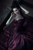 foto of night gown  - Beautiful woman in front of a building - JPG
