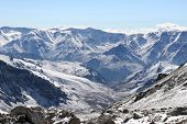 stock photo of aconcagua  - Andes as seen from Aconcagua Camp Two Argentina - JPG