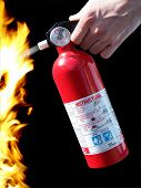stock photo of fire extinguishers  - extinguisher and fire - JPG