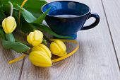 image of easter_break  - breakfast with tea and yellow spring tulips - JPG