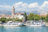 SPLIT, CROATIA - AUGUST 4, 2012: Ships in Split harbor on August 4, 2012 in Split, Croatia. Split is