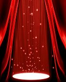 stock photo of curtains stage  - movie or theatre curtain with a spotlight on it - JPG