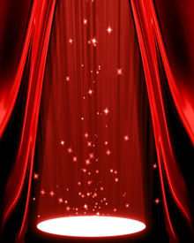 picture of curtains stage  - movie or theatre curtain with a spotlight on it - JPG