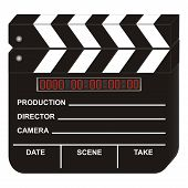stock photo of crew cut  - digital movie clapboard on white background - JPG