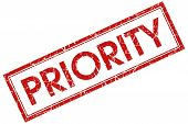 stock photo of priorities  - priority red square stamp on white background - JPG