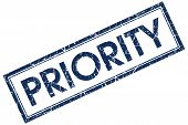 pic of priorities  - priority blue rectangular stamp on white background - JPG