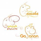 picture of ganpati  - vector illustration of Lord Ganesha on abstract background - JPG