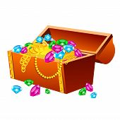 stock photo of treasure chest  - Vector illustration of treasure chest on white background - JPG