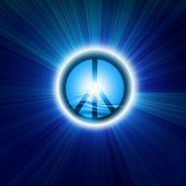 stock photo of peace-sign  - Peace symbol on a dark blue background - JPG