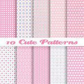 Cute different vector seamless patterns (tiling). Pink color