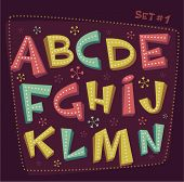 Retro type font. Fifties style alphabet. Vector illustration.