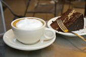 stock photo of hot coffee  - coffee and cake - JPG
