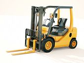 stock photo of pallet  - Modern forklift truck on light background - JPG