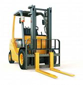 stock photo of lift truck  - Modern forklift truck on light background - JPG