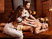 foto of panchakarma  - Couple  having oil Ayurveda spa treatment - JPG