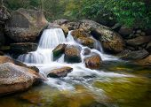 pic of backwoods  - Motion Blur Waterfalls Nature Landscape in Blue Ridge Mountains with green trees rusty natural orange rocks and flowing water - JPG