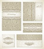 Set of wedding cards in vintage style